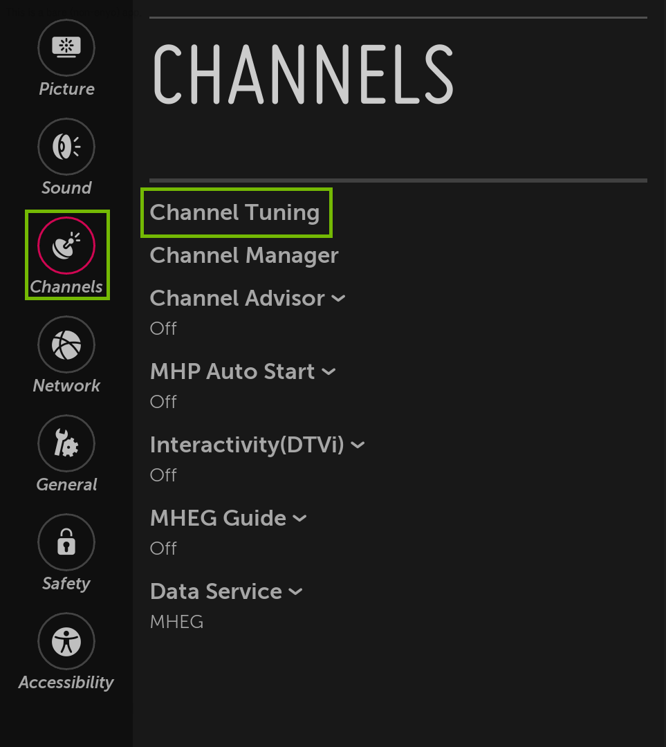 Channels menu with Channel Tuning highlighted.