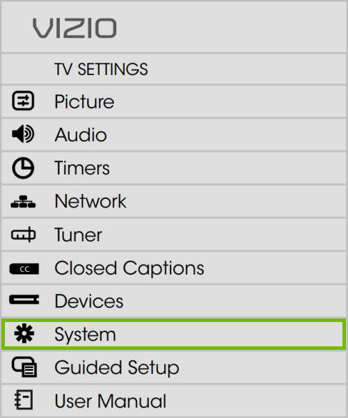 System option highlighted in VIZIO TV settings on VIA Plus platform.