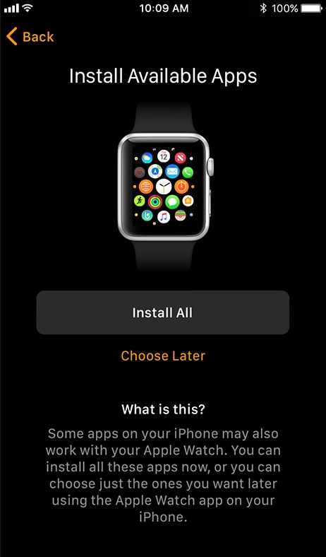 Apple watch app install available apps screen.