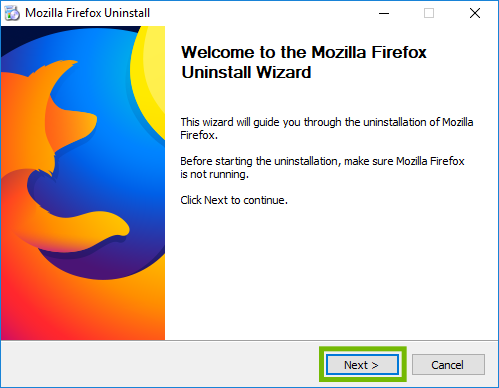 Firefox uninstall wizard welcome with Next highlighted.