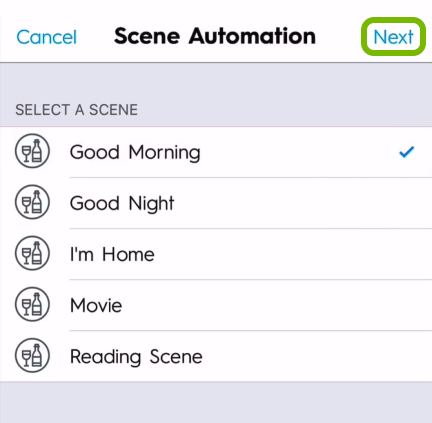 Next option highlighted in scene selection screen of C by GE app.