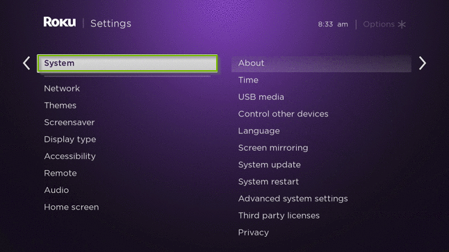 Roku TV menu with the system option highlighted.