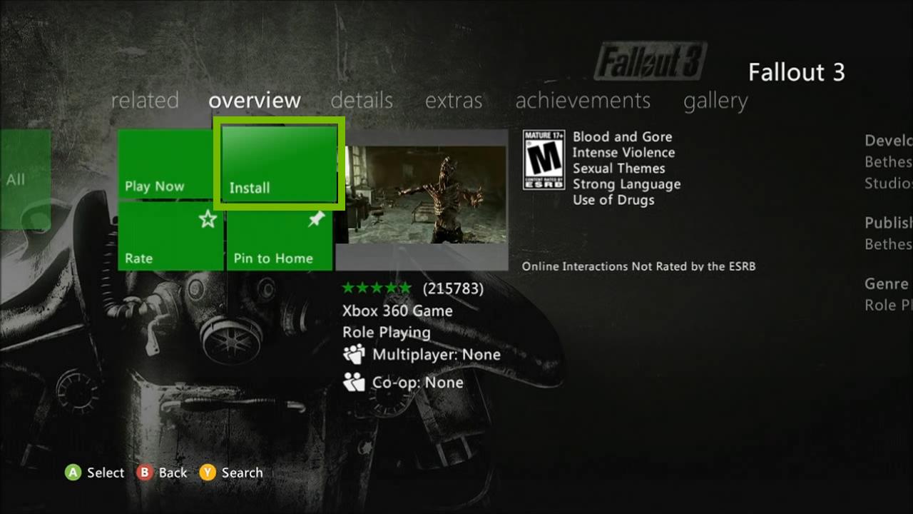 Install button. Screenshot.