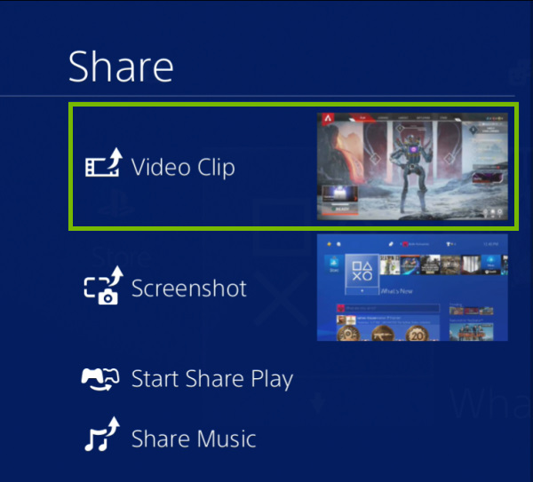 Video Clip option highlighted under Share option on PlayStation 4.