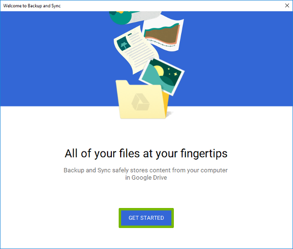 Google Drive setup with Get Started button highlighted.