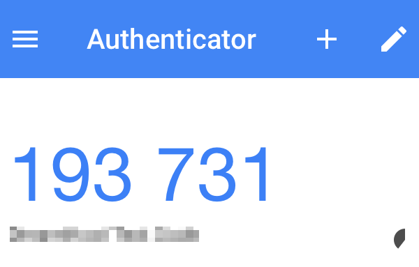 Authenticator with code displayed.