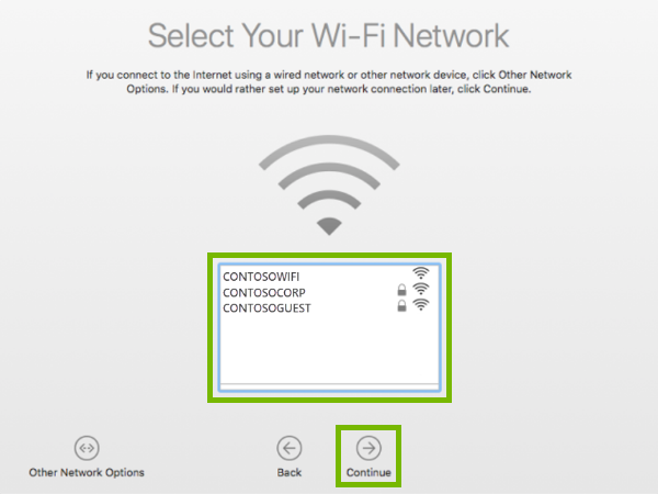 Wi-Fi Network selection screen with list of available networks and the Continue button highlighted