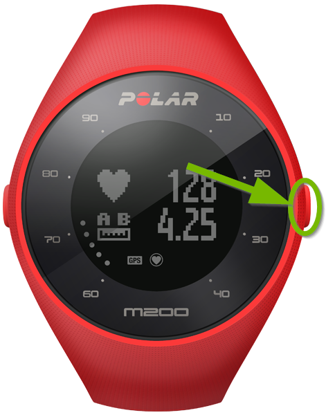 Polar M200 watch highlighting the right button.