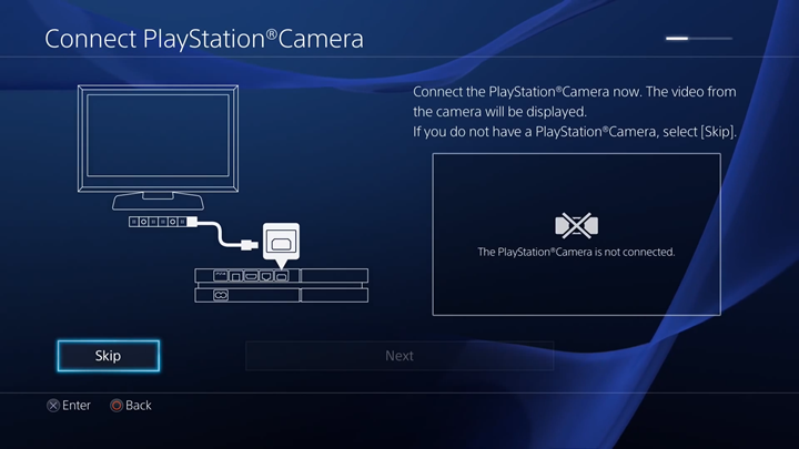 Camera connection screen.