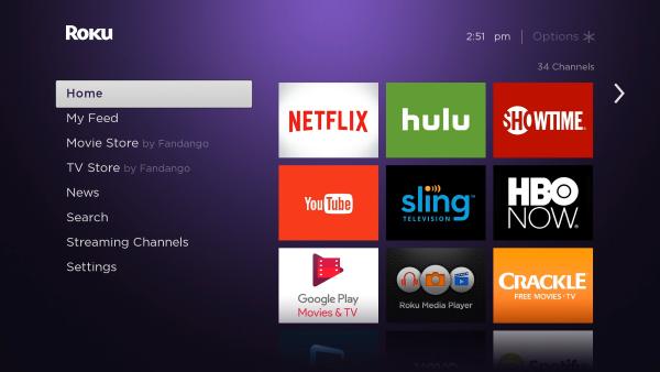 Roku home screen.