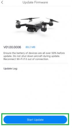 DJI app showing the start update button