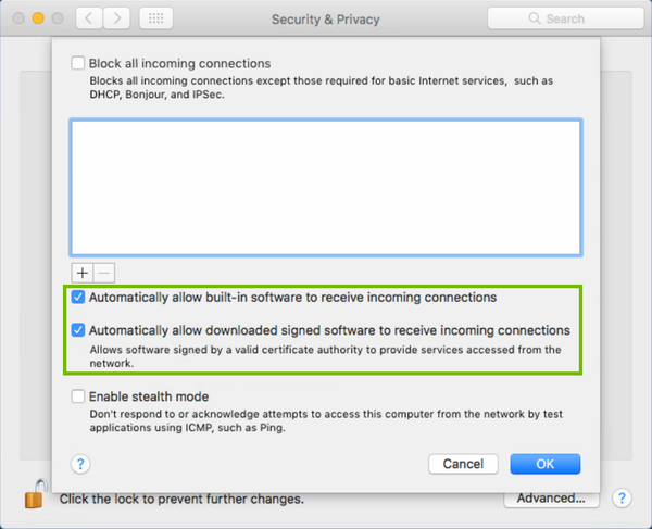 firewall settings with options for allowing built-in and signed software allowed highlighted