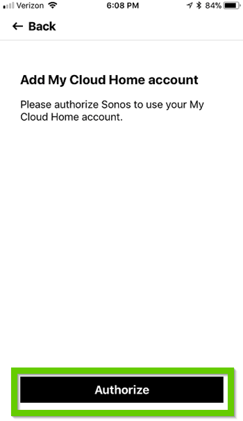Sonos app asking for authorization