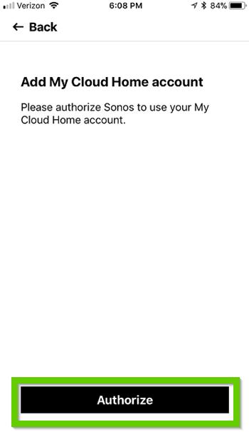 Sonos app asking for authorization