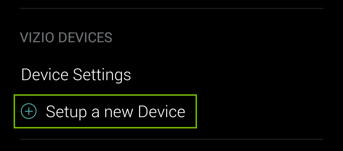 set up new device option