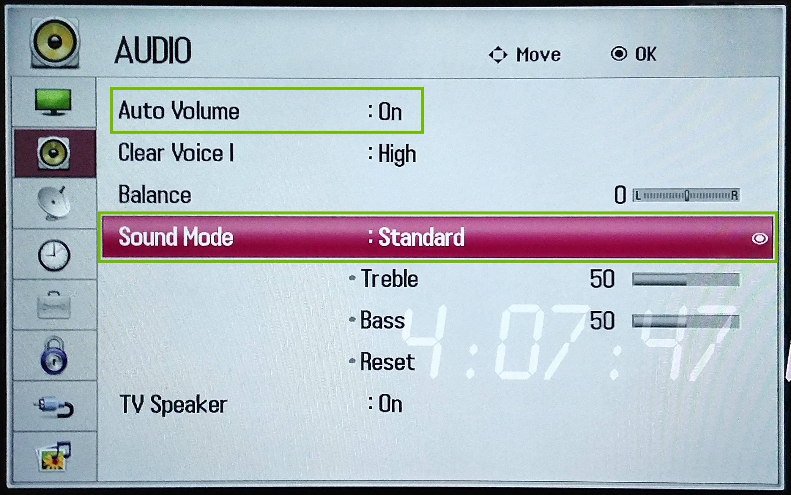 Audio Menu with Auto Volume and Sound Mode highlighted.