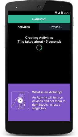 Harmony app creating activities for the equipment added to the app.