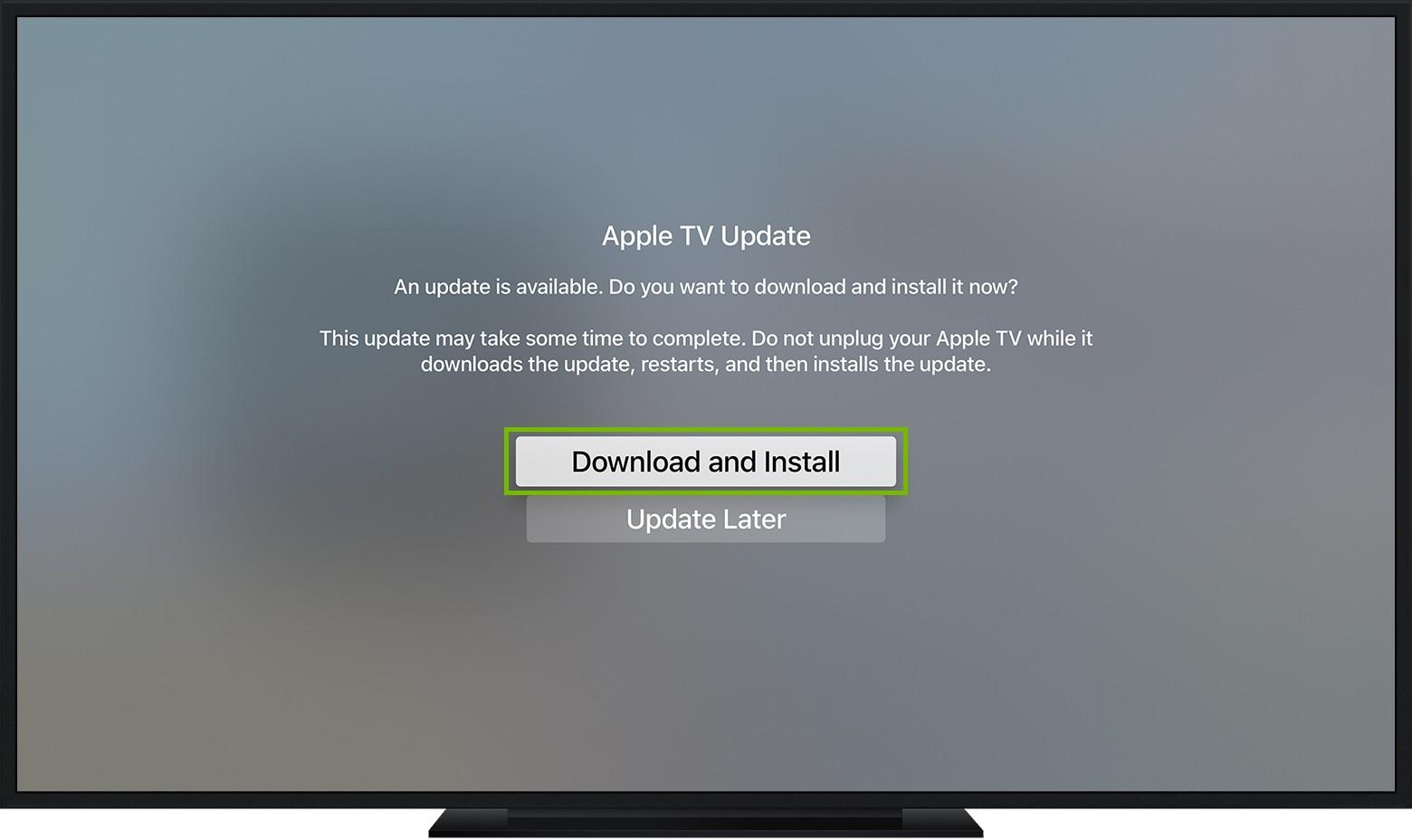 Apple TV Update Software screen highlighting the Download and Install button.