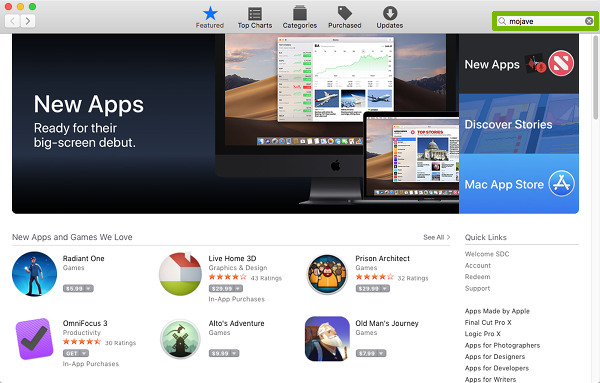 App store with Search bar filled in and highlighted.