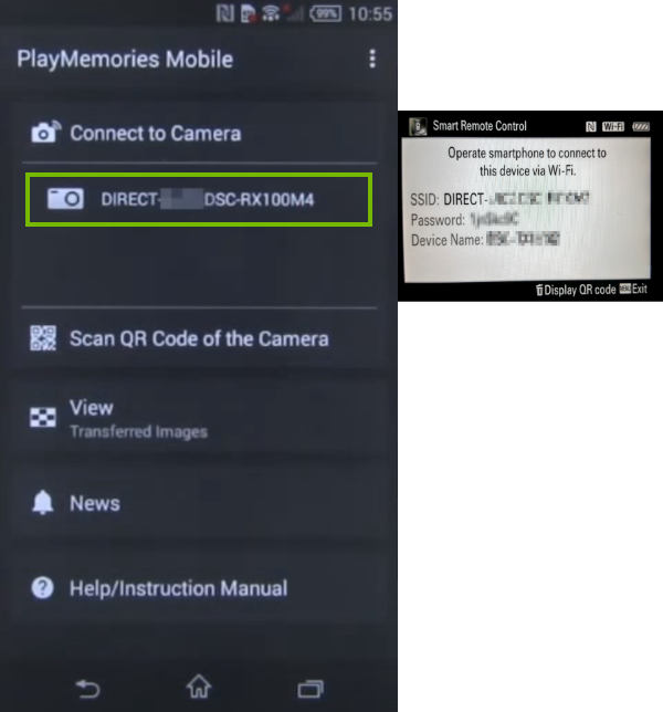 Connection screen with camera name highlighted.