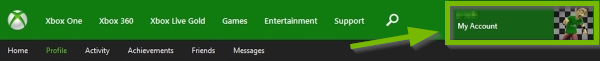 Gamericon highlighted and pointed out on Xbox online account page.