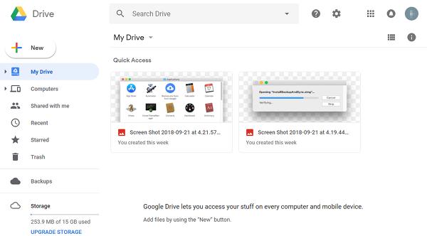Google Drive main page.