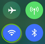 iOS control panel Wi-Fi icon