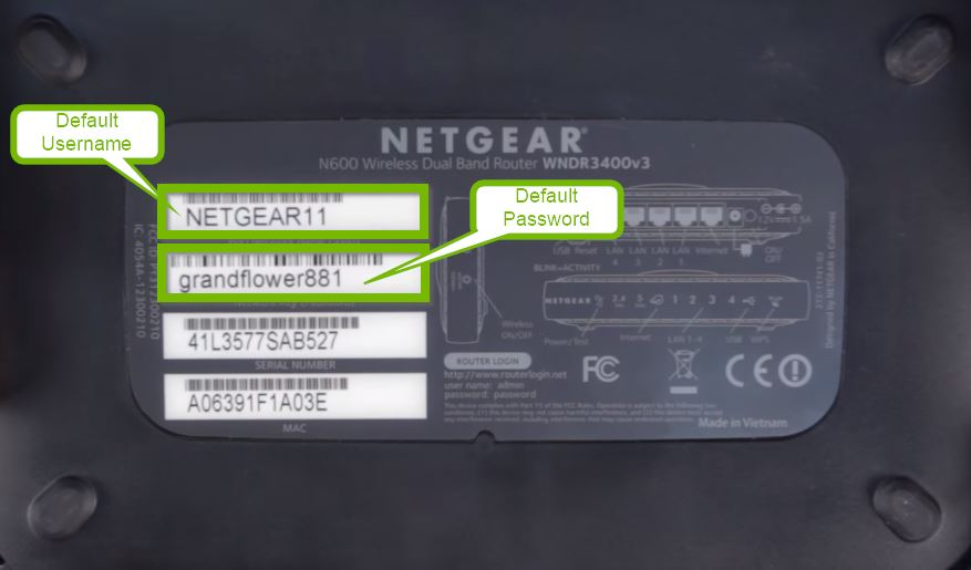 Bottom router label with example default credentials.