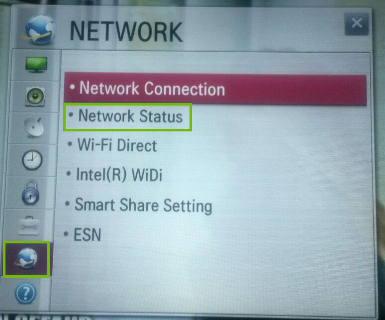 Settings with Network and Network Status highlighted.