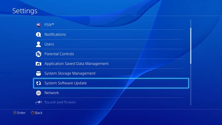 System Software Update selected in Settings menu.