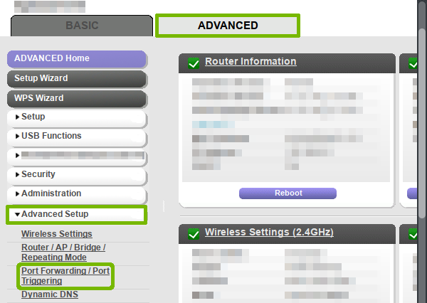 Router interface with Port Forwarding located.