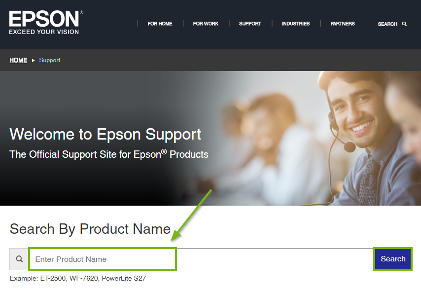 Epson website highlighting the product search box. Screenshot.
