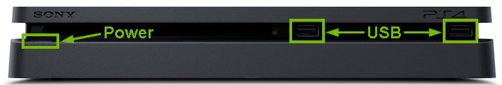 PlayStation 4 Slim front view with components highlighted.