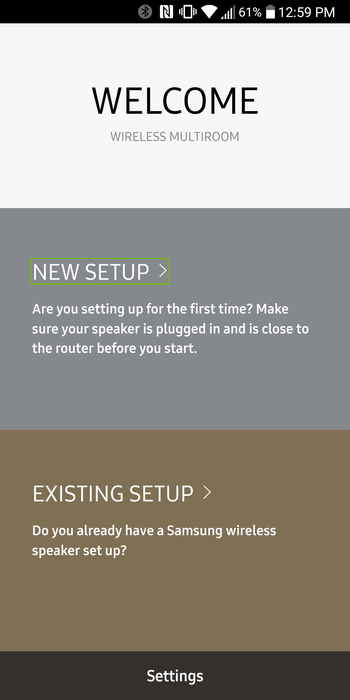 Wireless Multiroom app welcome screen with New Setup highlighted
