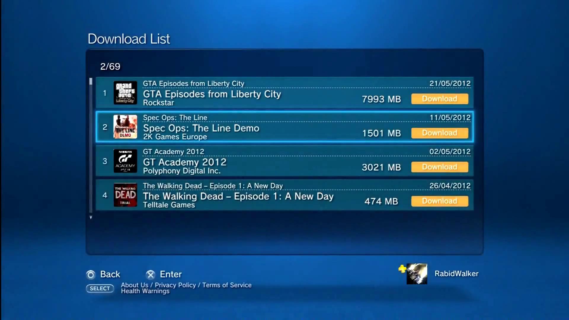 Downloads List. Screenshot.