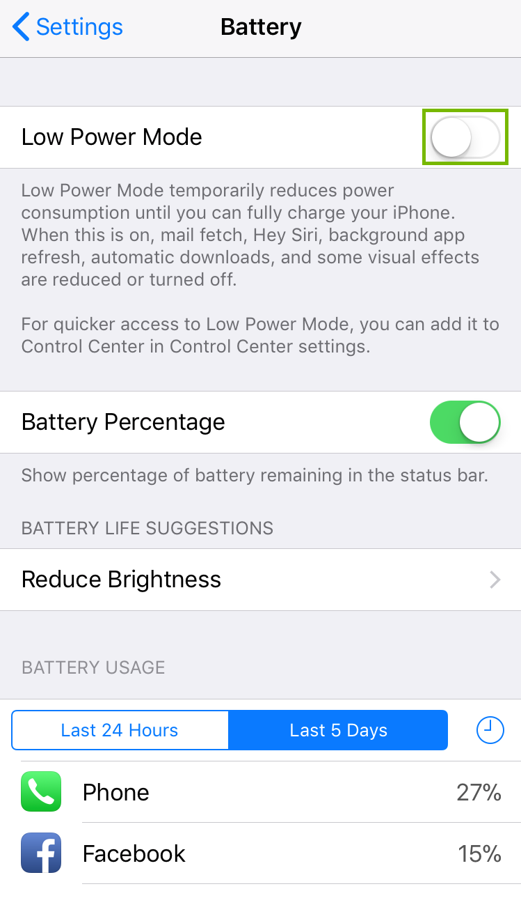 Battery settings with Low Power Mode button toggled. Screenshot.