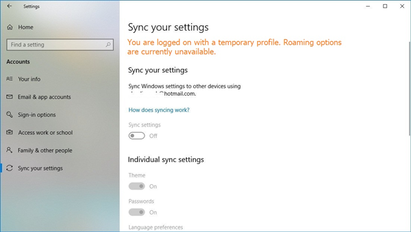 Windows 10 sync your settings menu showing the temporary account error.