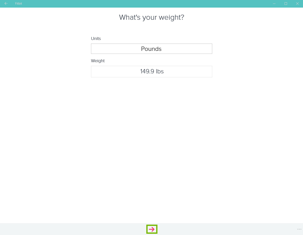 Fitbit app with weight listed and arrow highlighted