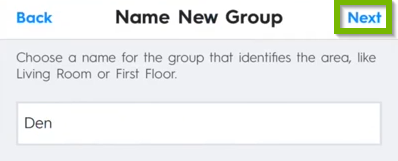 Name new group next button.