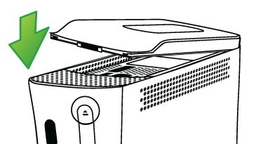 Re-seating the Xbox 360 hard drive. Illustration.