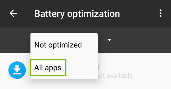 Battery optimization with All apps highlighted.