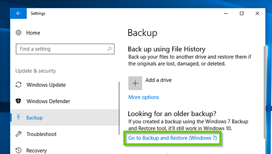 Windows 10 backup and restore menu showing the backup and restore to windows 7 option