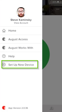 August Home app page with set up new device highlighted
