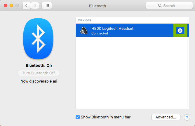 Screenshot of Bluetooth Preferences with x highlighted next to paired Bluetooth device