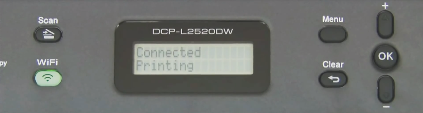 Brother printer control panel displaying a successful connection message.