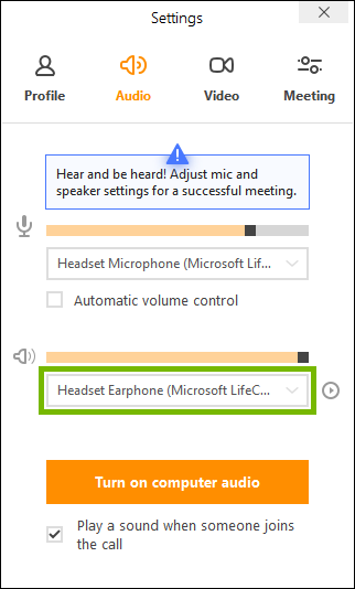 Speakers selector highlighted in join.me app settings.