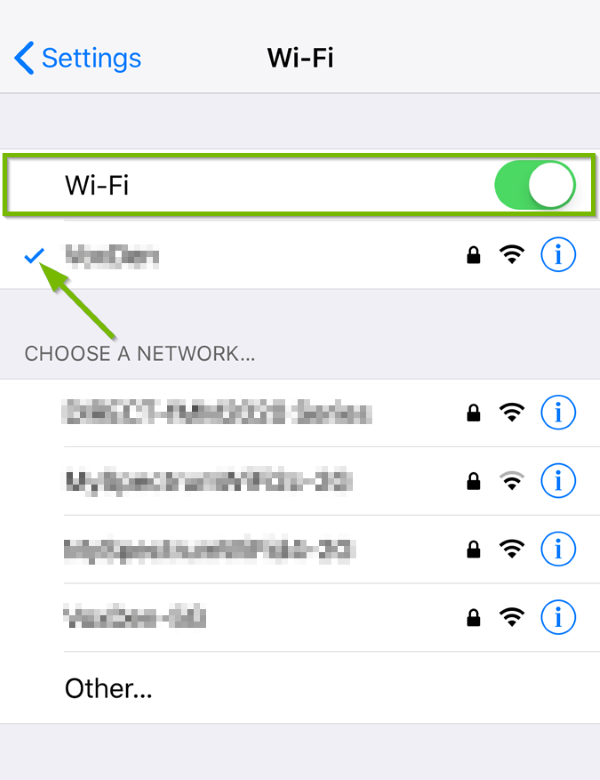 iOS Wi-Fi menu highlighting the Wi-Fi switch and the currently connected network.
