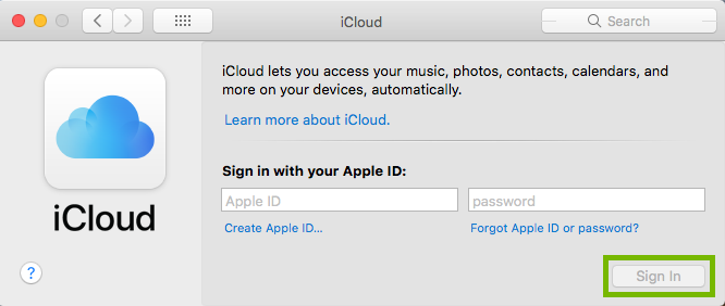 iCloud settings with sign in highlighted