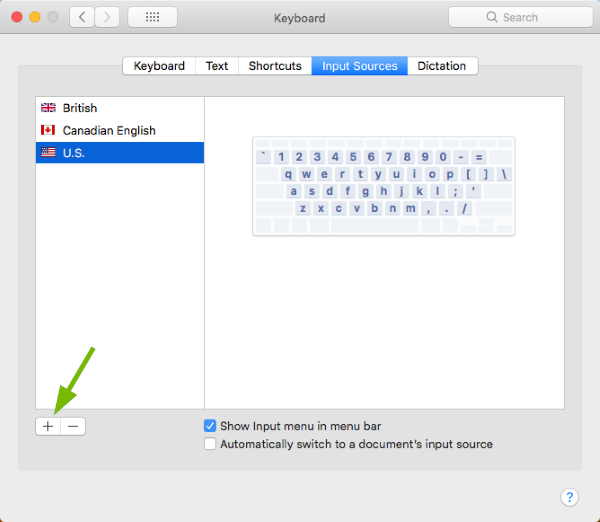 Plus sign pointed out in Keyboard Preferences in macOS.