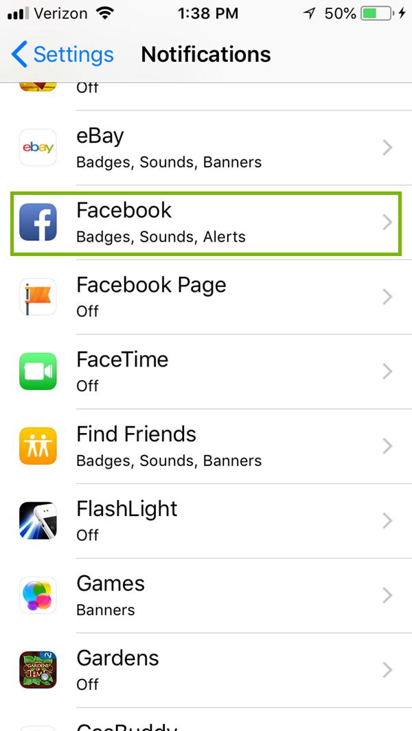Notifications menu with an app highlighted. Screenshot